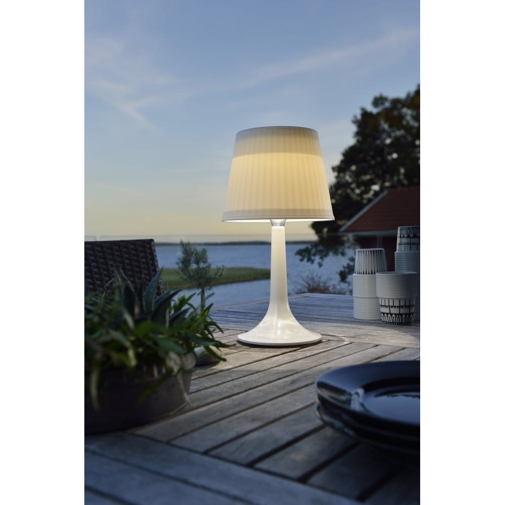 Outdoor Table Lamp Led: Konstsmide Assisi Solar Outdoor LED Table Lamp With White