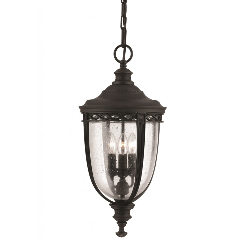 Feiss English Bridle Medium Pedestal Lantern Light Black: Elstead Lighting Feiss English Bridle Large 3 Light