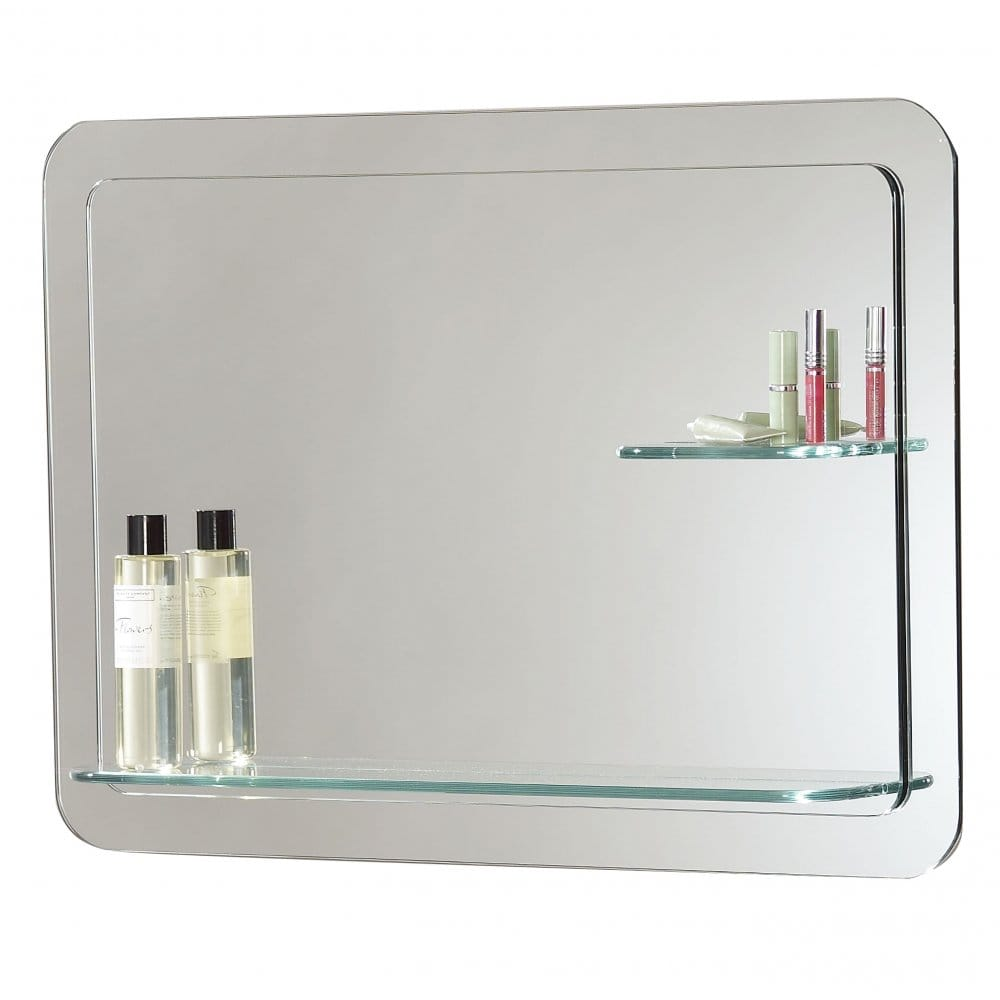 kozani rectangular layered bathroom mirror with clear glass shelves