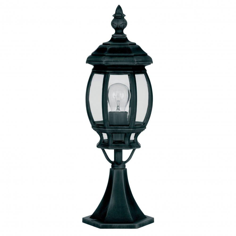 Cheltenham Cast Pedestal Lantern Light Black: Endon Lighting Single Light Outdoor Pedestal Light In A