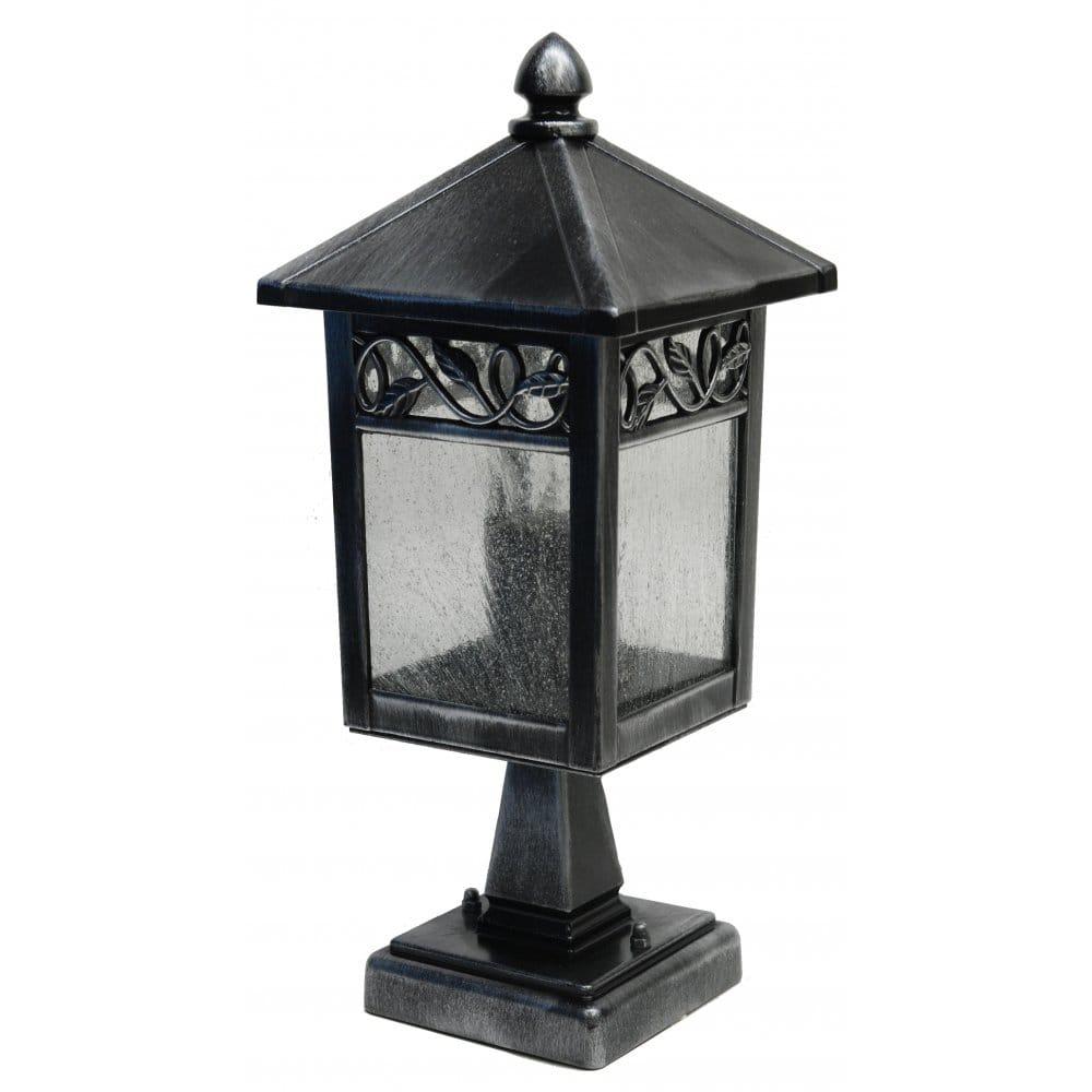 Elstead Lighting Garden Zone Winchcombe Single Light Pedestal In Black Silver