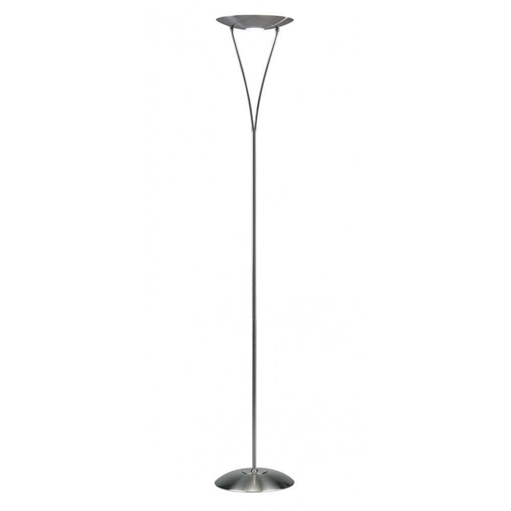 dar lighting opus single light halogen uplighter floor lamp in satin chrome finish with rotary. Black Bedroom Furniture Sets. Home Design Ideas