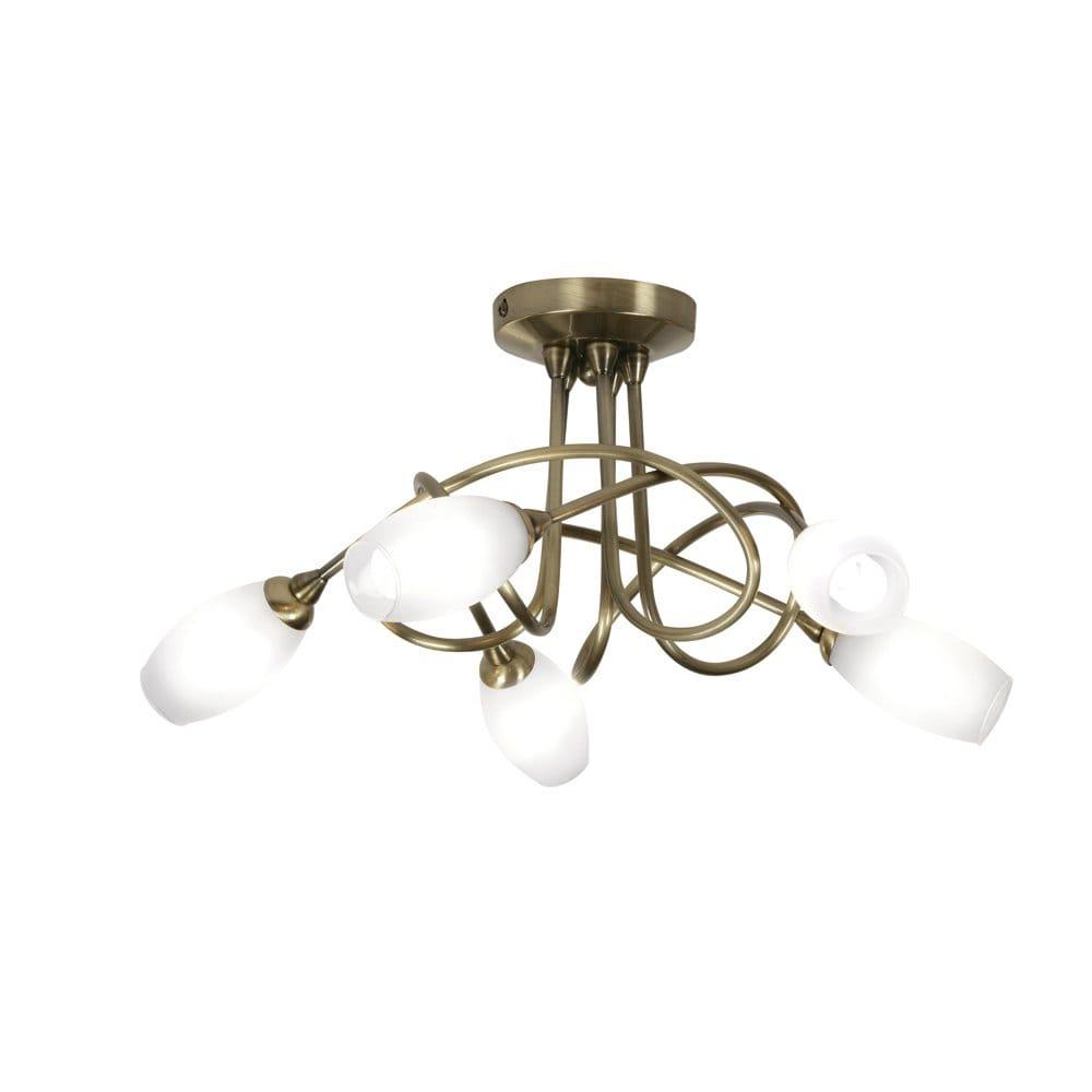 Brass Finish Ceiling Lights : Oaks lighting tara light halogen semi flush ceiling