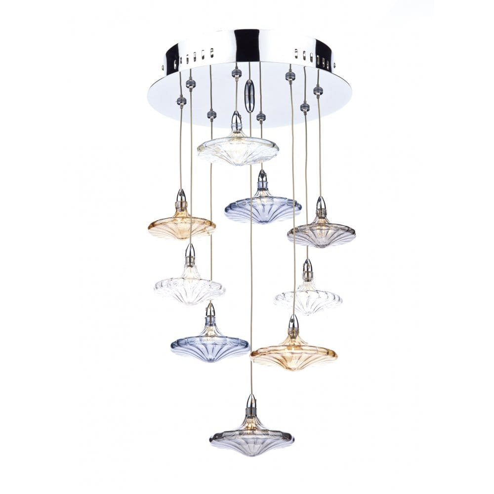 juliette 9 light ceiling pendant with multi coloured hand blown glass