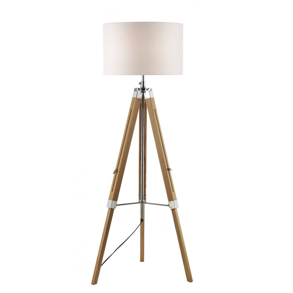 light wooden tripod floor lamp with linen drum shade dar lighting. Black Bedroom Furniture Sets. Home Design Ideas