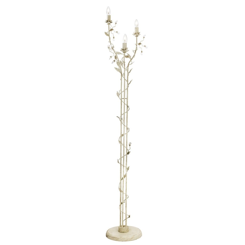 Searchlight lighting almandite 3 light floor lamp in cream for 3 light crystal floor lamp