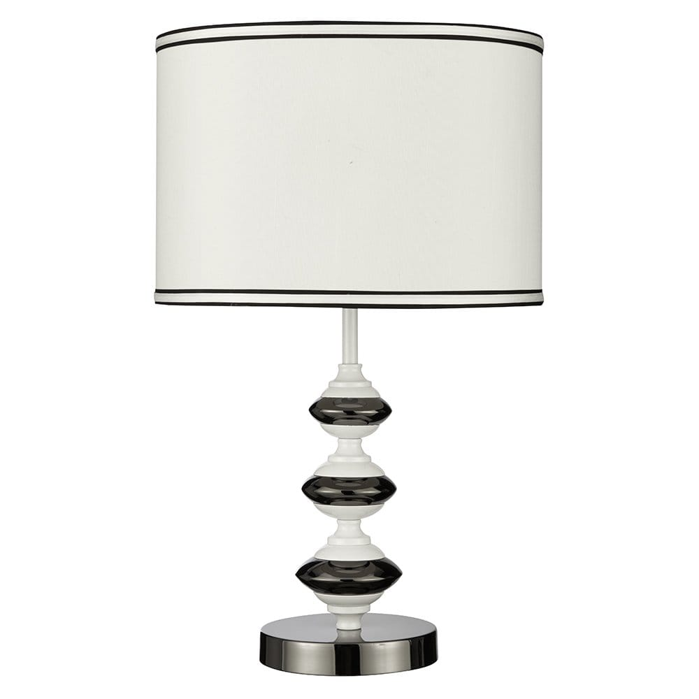 Searchlight lighting single light table lamp in polsihed for Drum shaped lamp shades