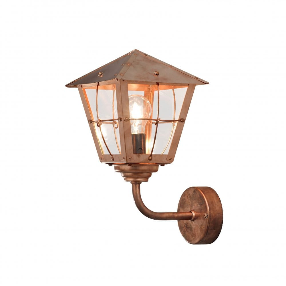 light solid copper upwards outdoor wall lantern with clear glass