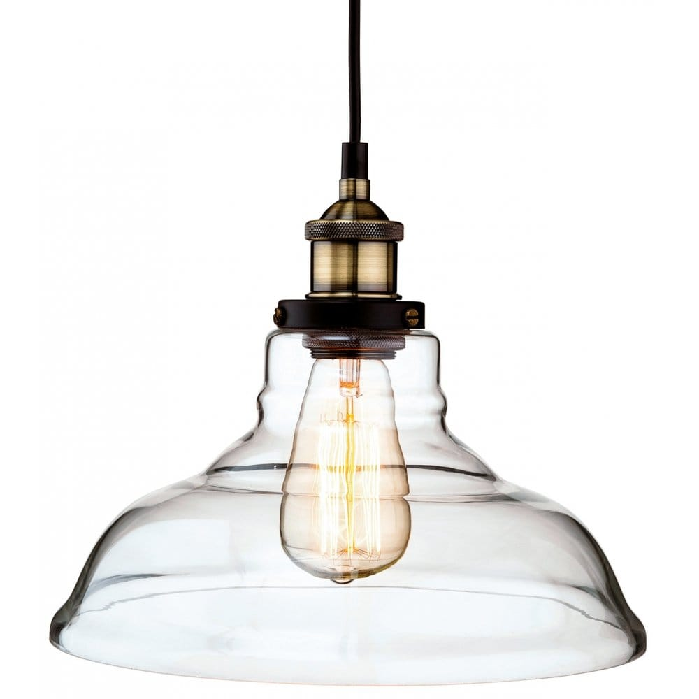 Firstlight Empire Single Light Ceiling Pendant In Antique Brass Finish With C