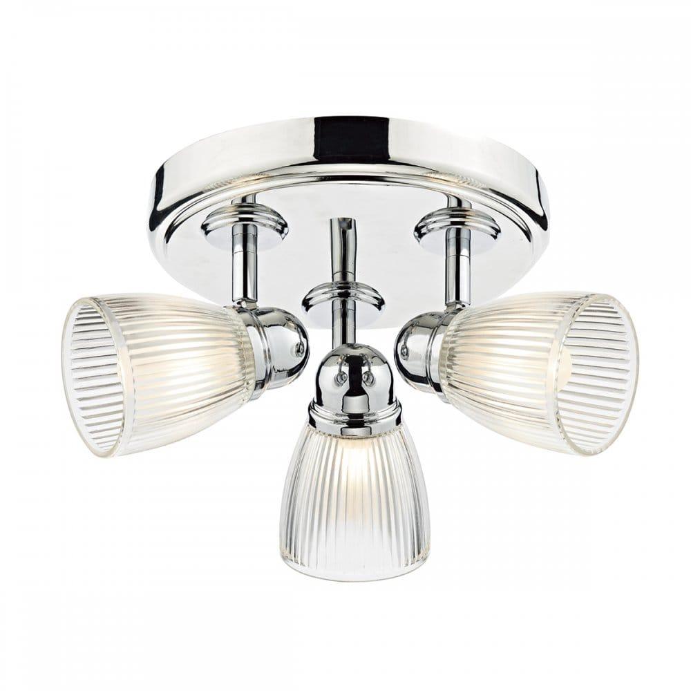 Dar Lighting Cedric 3 Light Bathroom Ceiling Spot Light Fitting In Polished Nickel Finish With