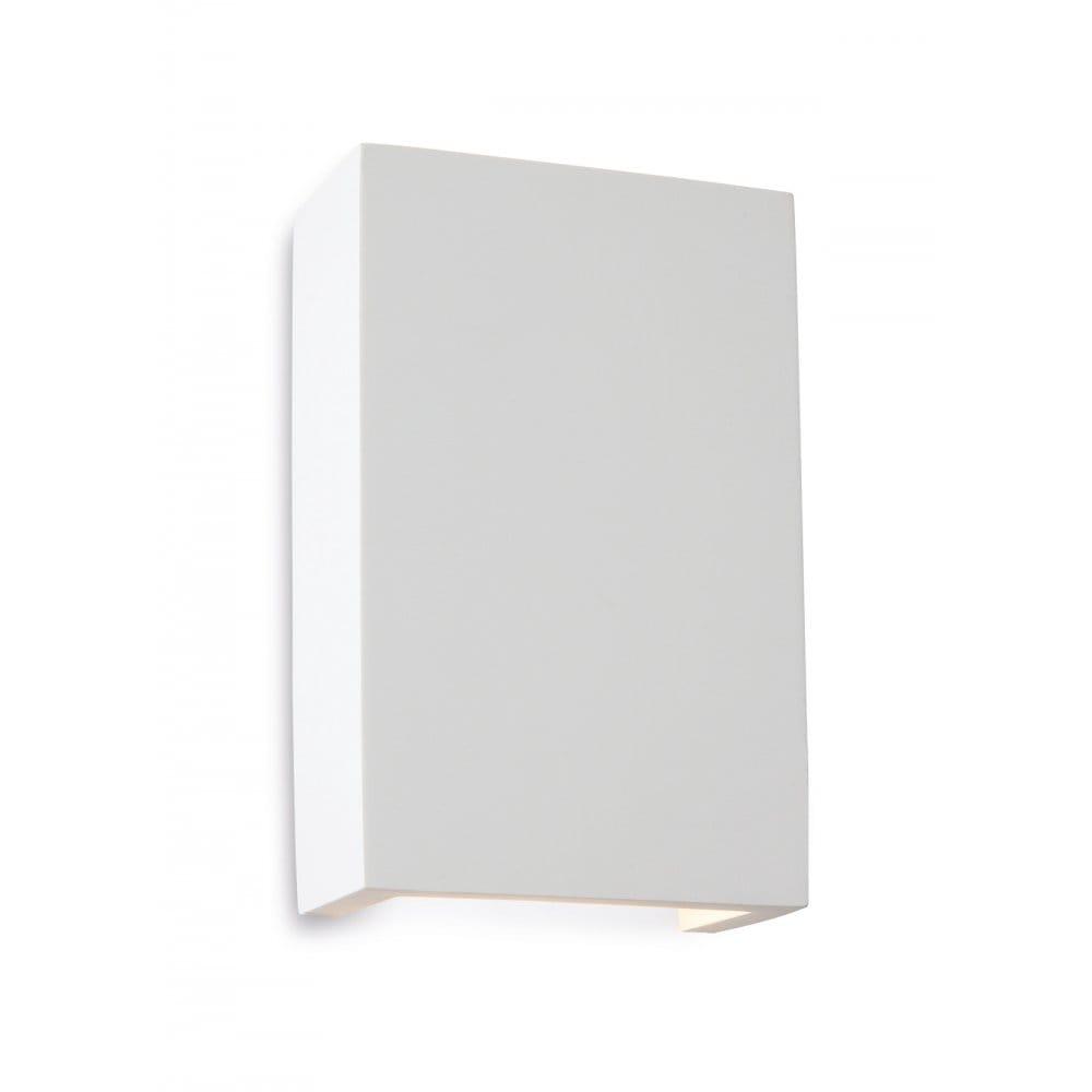 Firstlight Plaster Gallery Square 2 Light LED Wall Uplighter/Downlighter in White Plaster Finish ...