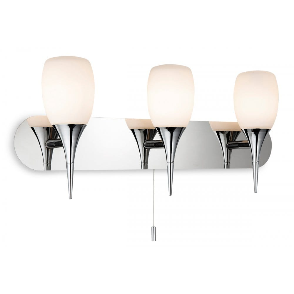 Wall Fitting Lamp Shades : Firstlight Robano 3 Light Wall Switched Lamp Fitting In Chrome with Opal Glass Shades ...