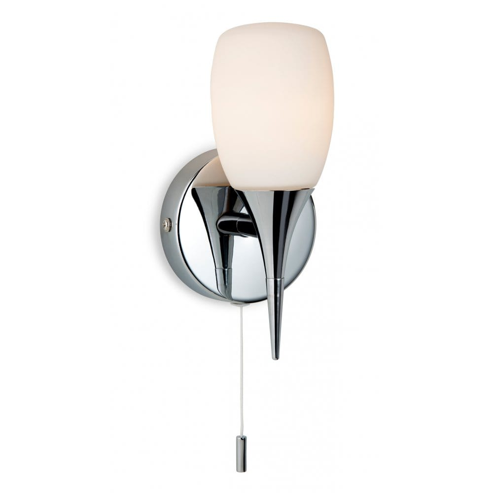 Wall Fitting Lamp Shades : Firstlight Robano Single Light Wall Switched Lamp Fitting In Chrome with Opal Glass Shades ...