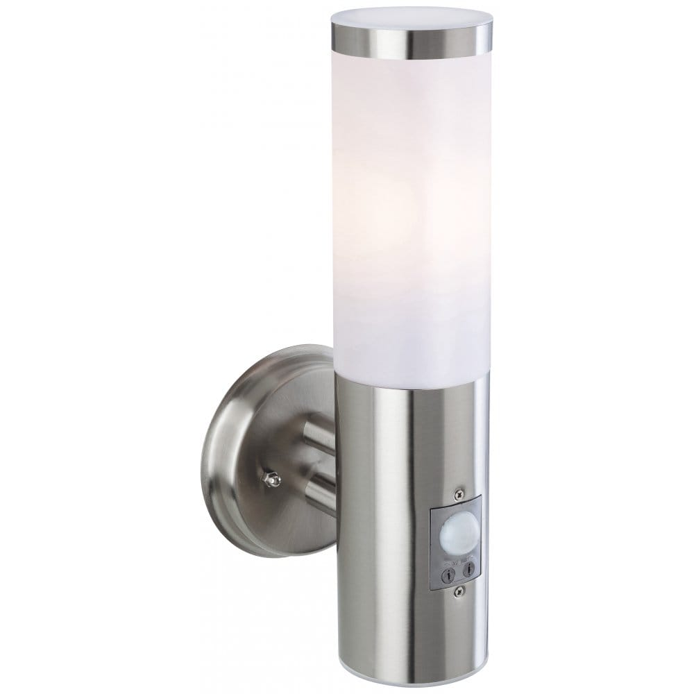 Firstlight Plaza Single Outdoor Wall Light in Stainless Steel Finish with Adjustable PIR sensor ...
