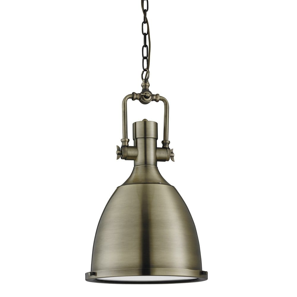 searchlight lighting single light industrial style ceiling pendant in antique brass finish with. Black Bedroom Furniture Sets. Home Design Ideas