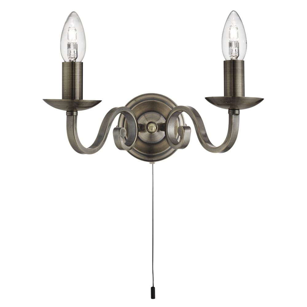 Candle Wall Light Fittings : Searchlight Lighting Richmond 2 Light Wall Fitting In Antique Brass Finish With Candle Style ...