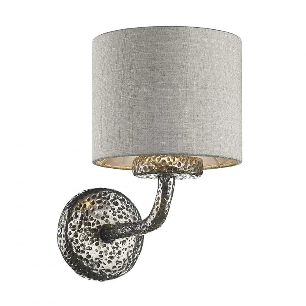 Silk Lamp Shades For Wall Lights : David Hunt Lighting Sloane Single Light Wall Lamp in Pewter Finish with Silver Grey Silk Shade ...