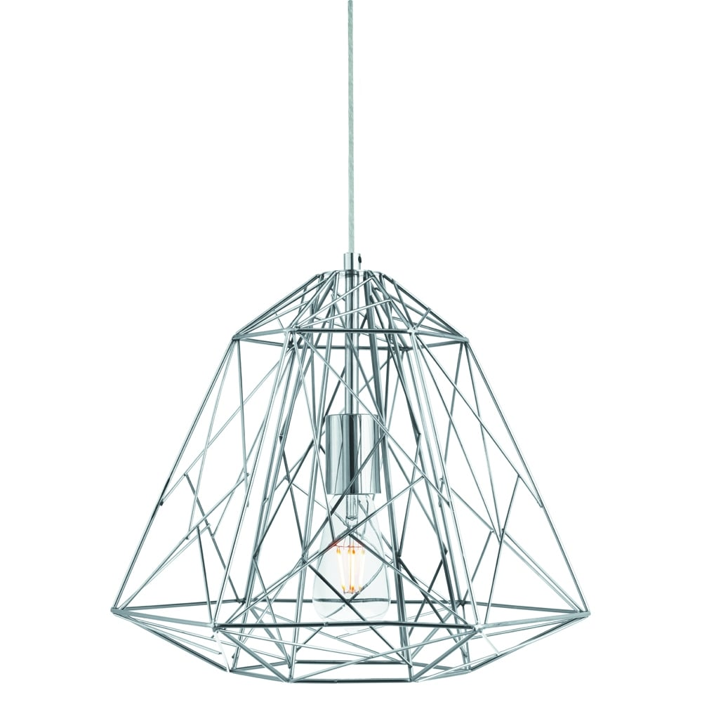 Searchlight Lighting Single Light Chrome Geometric Cage