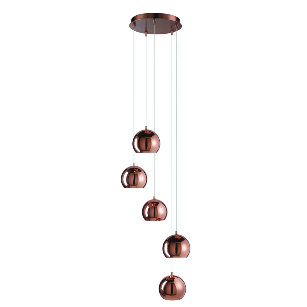 Pendant Ceiling Lights Copper : Searchlight lighting domas light multi drop ceiling pendant in copper finish with dome shades