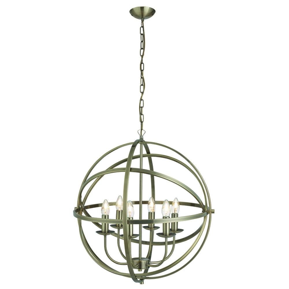searchlight lighting orbit 6 light ceiling pendant light in antique brass finish searchlight. Black Bedroom Furniture Sets. Home Design Ideas