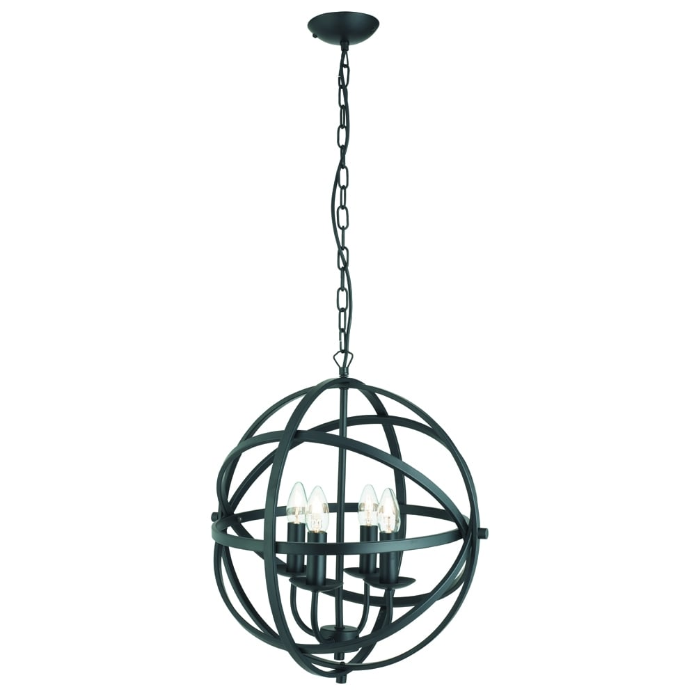 searchlight lighting orbit 4 light ceiling pendant light in matt black finish searchlight. Black Bedroom Furniture Sets. Home Design Ideas