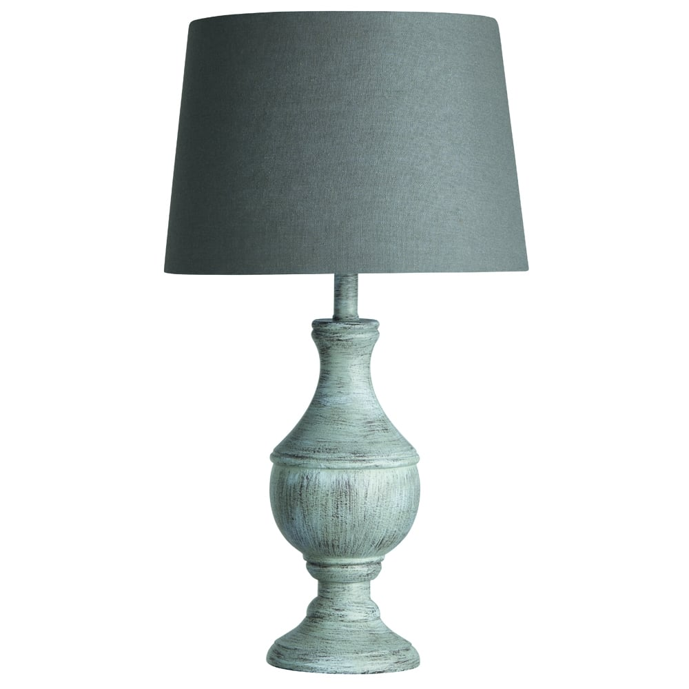 searchlight lighting single light washed wood grey table lamp with round urn base and grey linen. Black Bedroom Furniture Sets. Home Design Ideas