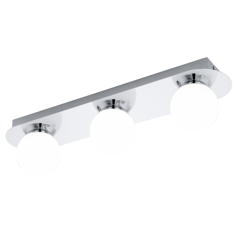 3 Tips For Better Bath Lighting At Lumens Com: Eglo Lighting Mosiano 3 Light Flush Bathroom Bar Ceiling Fitting In Polished Chrome And Opal