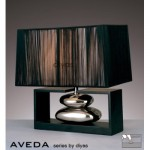 Diyas Aveda table lamp in black wood and black string shades