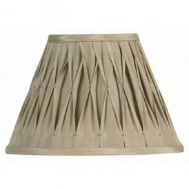 12 Inch Lined Sand Coloured Pinch Pleat Faux Silk Shade