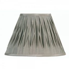 14 Inch Pinched Pleat Style Shade with Soft Grey Faux Silk