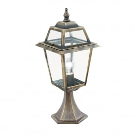 1524 New Orleans Single Light Outdoor Post Lamp In Black & Gold Finish With Clear Glass