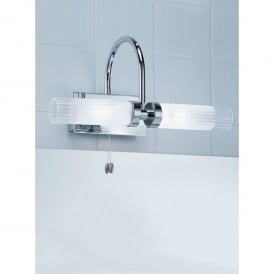 2 Light Switched Bathroom Wall Bracket in Polished Chrome with Glass Shades