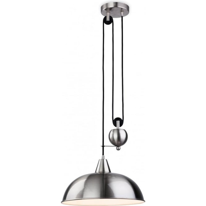 Firstlight 2309BS Century Single Light Rise and Fall Pendant in a Brushed Steel Finish