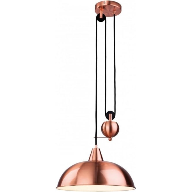 Firstlight 2309cp Century Single Light Rise And Fall Pendant In Brushed Copper Finish Lighting