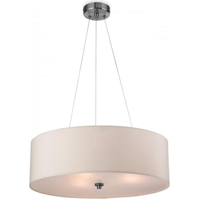 Firstlight 2314CR Phoenix 3 Light Ceiling Pendant with a Cream shade and Frosted Acrylic Diffuser