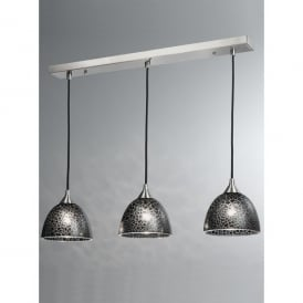 3 Light Bar Pendant with Black Crackle Effect Glass Shades