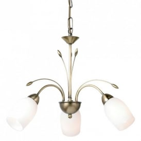 3 Light Ceiling Fitting In Antique Brass Finish With White Glass Shade