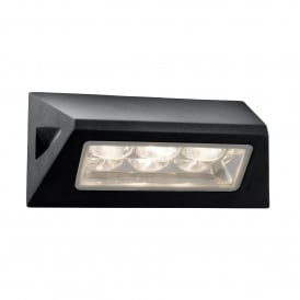 3 Light LED Outdoor Wall Fitting In Black Finish Glass Diffuser