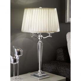 3 Light Table Lamp In Polished Chrome Finish With Crystal Detail And Pale Cream Pleated Shade