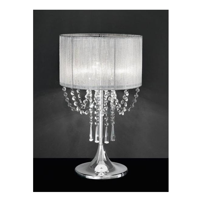 Chrome Table Lamp with Crystal Shade