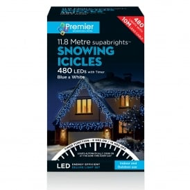 480 Blue & White LED Snowing Icicle Lights