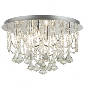 6 Light Flush Ceiling Fitting In Polished Chrome Finish With Clear Crystal Pyramid Drops & Trim
