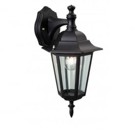 6 Panel Single Downlight Wall Fitting Die Cast Aluminium in Black Finish with Glass