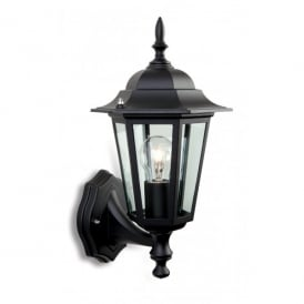 6 Panel Single Uplight Wall Fitting Die Cast Aluminium in Black Finish with Glass