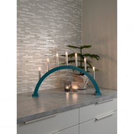 7 Light Arched Large Welcome Light with Petrol Blue Finish
