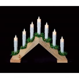 7 Light Pine Candlebridge with Dancing Flames
