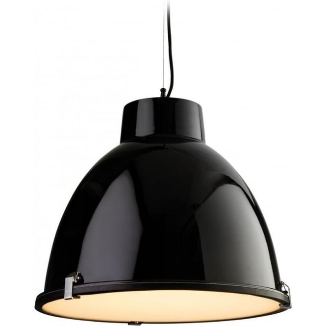 Firstlight 8621BK Manhattan Single Light Pendant with a Black Finish and Frosted Glass