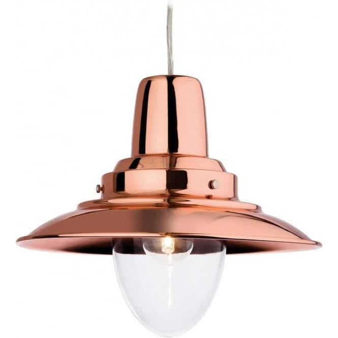 Firstlight 8645CP Fisherman Single Light Copper Finished Pendant with a Clear Diffuser