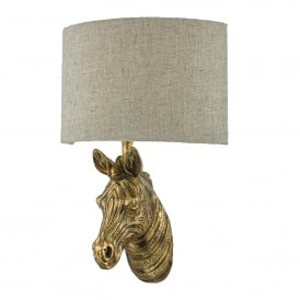 Abby Single Light Wall Fitting in Gold Effect Painted Finish Complete with Natural Linen Shade