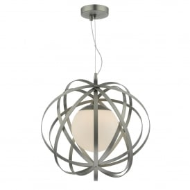 Abraham Single light Ceiling Pendant In Antique Satin Chrome Finish With Opal Glass Shade